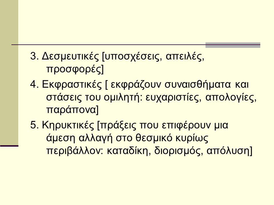 3. Δεσμευτικές [υποσχέσεις, απειλές, προσφορές]